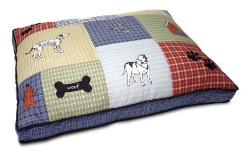 Petmate Quilted Applique Dog Bed, Classic Dog Motif, 27-Inch by 36-Inch