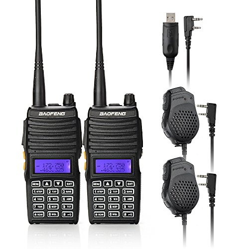 Baofeng 2PCS UV-5X Mate Handheld Two-way radio VHF136-174MHz UHF400-520MHz Dual Display Standby Transceiver Walkie Talkie with 2xMic+Tokmate Programming Cable (Baofeng Head compare prices)