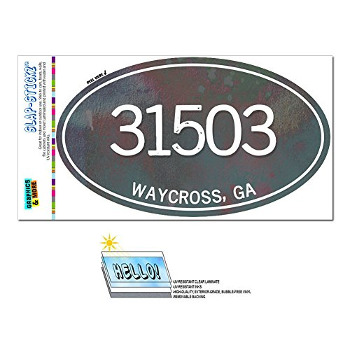 Graphics and More Zip Code 31503 Waycross, GA Euro Oval Window Bumper Glossy Laminated Sticker - Metal Design (Waycross Ga compare prices)