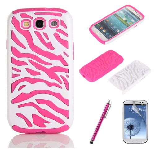 Pandamimi Pink White Zebra Combo Hard Soft High Impact Samaung Galaxy s3 i9300 Armor Case Skin Gel with free screen protector and stylus