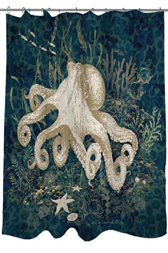 Thumbprintz Shower Curtain, Octopus Vignette Blue