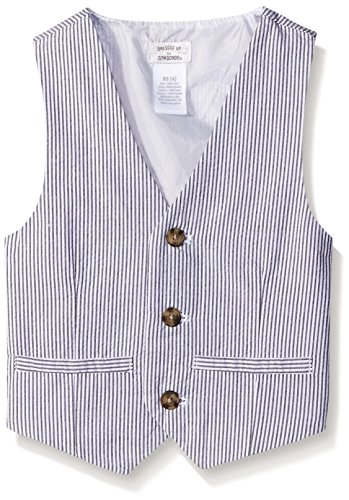 Gymboree Big Boys Railroad Stripe Woven Vest, Dark Marine, Small