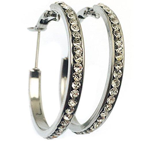 Diamante Zirconia Cubica Orecchini a cerchio da donna oro/argento, acciaio inossidabile, colore: Silver, cod. 101