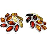 Multicolor Amber Sterling Silver Stud Earrings