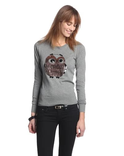 French Connection Women's Lady Owl Sequins Sweater  [Grey Melange]