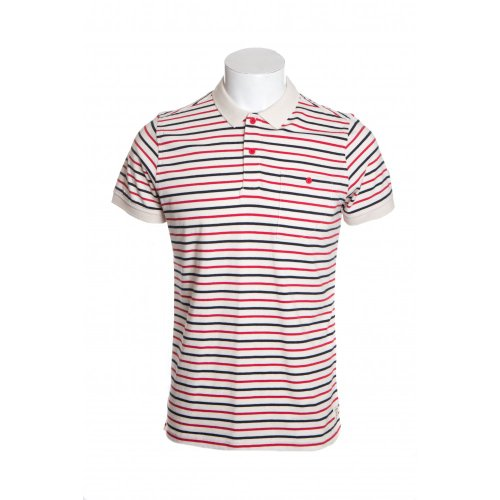 Weekend Offender mens category A chile short sleeve striped polo shirt in cream XL