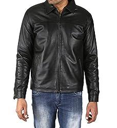 Shagoon Emporium Men's Leather Jacket(sh0083_Black_Large)