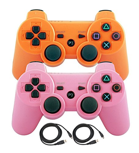 Bowink 2 Packs Wireless Bluetooth Controllers For PS3 Double Shock - Bundled with USB charge cord (Orange+pink) (Locks Quest Ds compare prices)