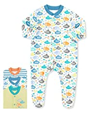 3 Pack Pure Cotton Boat Print All-In-Ones