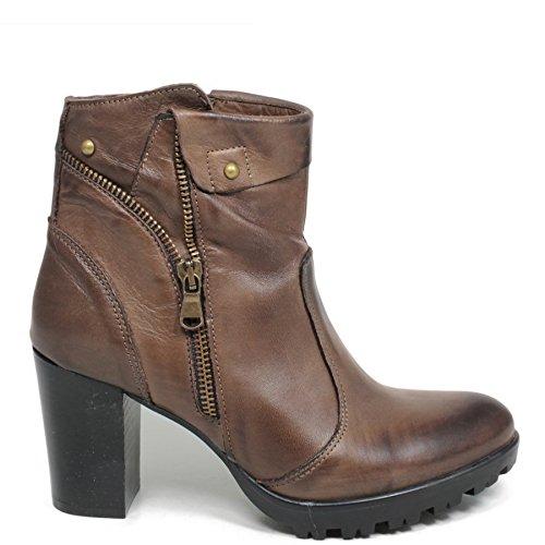 Tronchetti Stivaletti Ankle Boots Donna In Time 0167 Testa di Moro in Vera Pelle Made in Italy