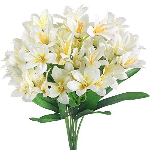 GTidea 2pcs Artificial Silk Mini lily Faux Flowers Bouquet Arrangements Home Kitchen Weeding Party Table Decor White