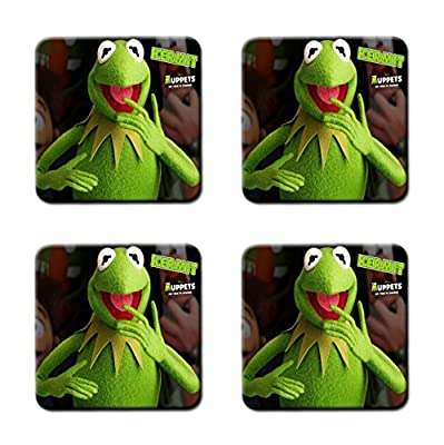 Muppet Show Muppets Kermit Miss Piggy Customized Square Coasters 4 Piece Set Cup Mat Mug Can Water Bottle Drink Collector Kit Kitchen Table Top Desk