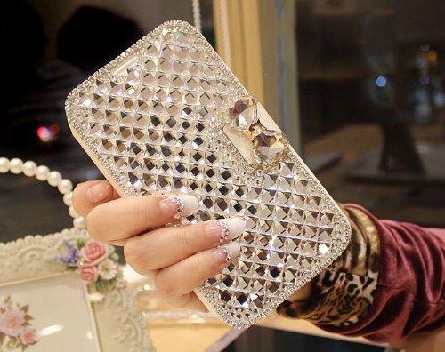 MagicSky Plastic + Silicone Bling Diamond Tuff Dual Layer Hybrid Case for Samsung Galaxy S5