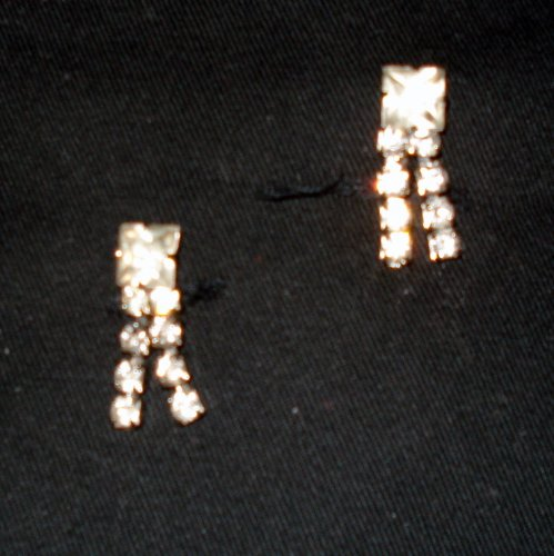 Dangling Rhinestone Earrings - Screw on Backs.