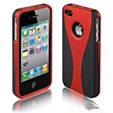 Cup Design Snap-On Protective Hard Case Cover for iPhone 4, 4S Black/Red