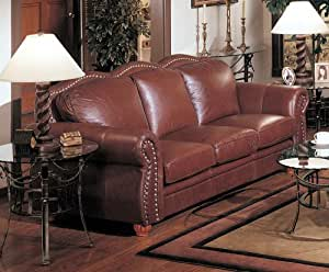 Amazon Com Cognac Finish 100 Real Italian Leather Sofa