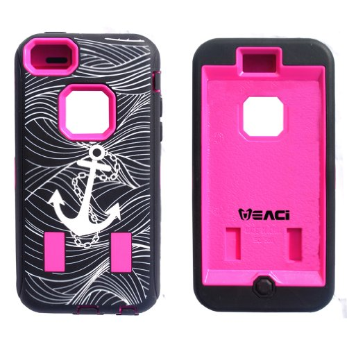 Meaci® Apple Iphone 5C Hard Soft Case Anchor Print Combo Hybrid Defender High Impact Body Armorbox Pc&Silicone Material (Anchor&Pink)