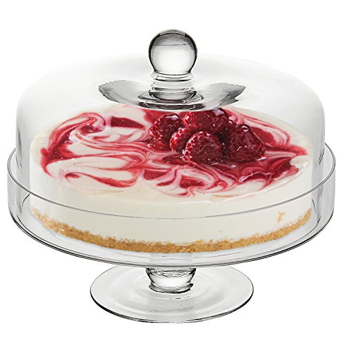 10 Inch Clear Hand Blown Glass Cake & Dessert Pedestal Display Stand w/ Dome Shape Handled Cover Lid (Glass Pastry Display compare prices)