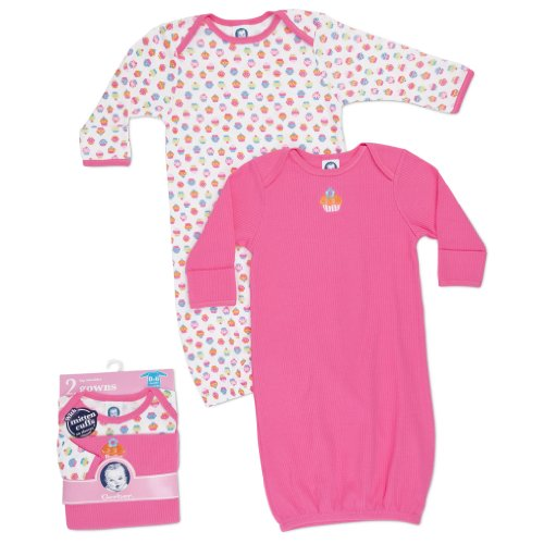 Gerber Baby-Girls Newborn 2 Pack Lap Shoulder Gown, Pink, 0-6 Months