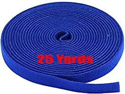 iMBAPrice® Blue  Cable Fastening Tape - 0.75 inch One Wrap Hook & Loop (75 feet) 25 Yards Long