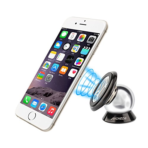 Car Mount, Archeer Dashboard Magnetic Smartphone Holder 360 Degree Rotatable Cradle Mount Kit for iPhone 6s 6 Plus, Samsung Galaxy S6 Edge+ Note 5 S5 S4 and Other Android Devices