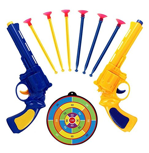 Cindy&Will 2Pcs Safe Environmental Friendly Multiplayer Pretend Play Cosplay Toy Gun Blasters with 6pcs Long Rubber Bullets and a Dart Board (Guns With Rubber Bullets compare prices)