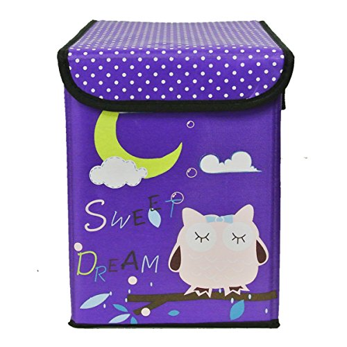 Wrapables Children's Owl Fabric Storage Bin for Clothes and Toys, Purple