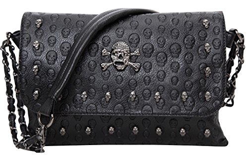 Tina Women's Fashion Casual Skeleton Studded Embossed Skull Shoulder Bag Black