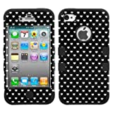 Laentina MYBAT Black Vintage Heart Dots/Black TUFF Hybrid Phone Protector Cover for APPLE iPhone 4S/4 (LIE8)