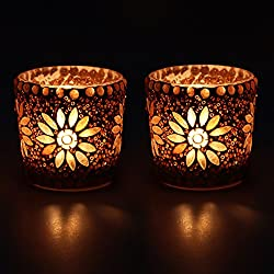 EarthenMetal Handcrafted Glass Shaped Mosaic Decorated Tealight Holder (Candle Light Holder)- Set of 2