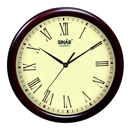 SINAR Analog Wood Wall Clock -(34.5X34.5X5.5 cm, Brown ,SQ-7697_R)