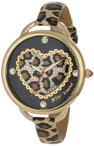 Betsey Johnson Women's BJ00067-14 Analog Leopard Pattern Heart Dial Watch