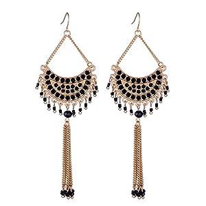 Girl Era Womens Vintage Moon Shape Tassels Bead Earrings(black)
