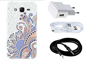 Spygen SAMSUNG GALAXY J5 (2015) Case Combo of Premium Quality Designer Printed 3D Lightweight Slim Matte Finish Hard Case Back Cover + Charger Adapter + High Speed Data Cable + Premium Quality Aux