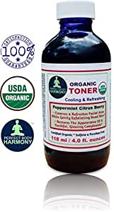 Perfect Body Harmony CERTIFIED ORGANIC Facial TONER, Cooling, Refreshing, Mildly Scented Peppermint Citrus Berry for Cleansing & Exfoliating! * 4.0 oz BLUE Glass Bottle * Sulfate & Paraben Free!