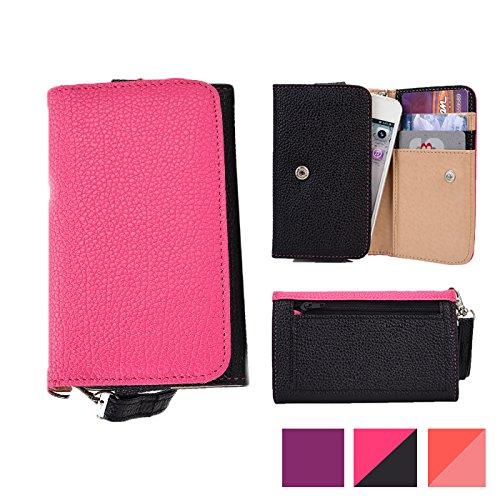 Cooper Cases(TM) Glamour Portafoglio per Smartphone Samsung Galaxy S6/CDMA/Active/Duos/Edge/Edge CDMA Stile Pochette da Donna in Rosa e Nero (Cinturino da Polso Removibile, Fessure per Carte e Documenti Integrate, Tasche a Bustina e con Cerniera)