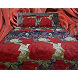 Riyasat- 5D Red Rose Floral Design Printed Double Bed Sheet Set (230x250 Cm) Glace Cotton Fabric