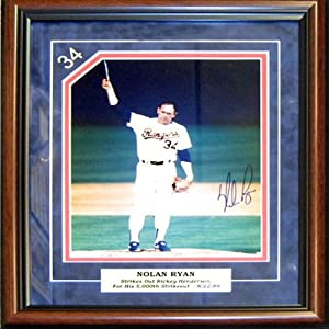 Nolan Ryan Autographed / Signed Framed 5000th Strikeout vs Rickey Henderson 8x10 Photo