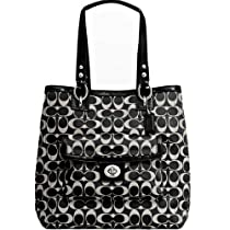 Hot Sale New Authentic COACH Signature Sateen Black & White Tote Shoulder Bag 19262 w/COACH Receipt