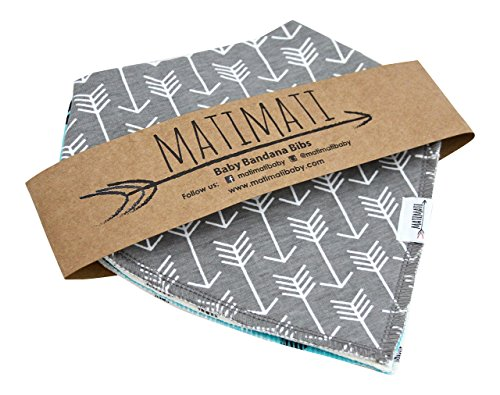 Matimati Baby Bandana Bib Set, 4-Pack Super Absorbent Drool Bandana Bibs (Arrows & Triangles)