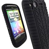 igadgitz Silikon Schutzhülle Hülle Tasche Etui Case Skin in Schwarz mit Reifenprofil design für HTC Desire S + Displayschutzfolie