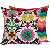 Chloe & Olive Cinco de Mayo Collection Floral and Zig Zag Decorative Square Pillow Cover, 20-Inch, Multicolor