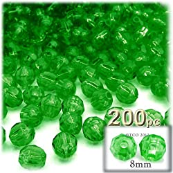 The Crafts Outlet 200-Piece Faceted Plastic Transparent Round Beads, 8mm, Emerald Green