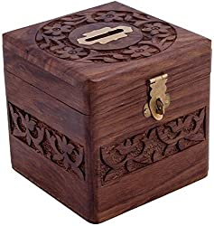 Handmade Wooden Square Money/Piggy Bank/Coin Box with Beautiful Carving Design FOR KIDS (Best Gift Item for kid), Birthday Gift
