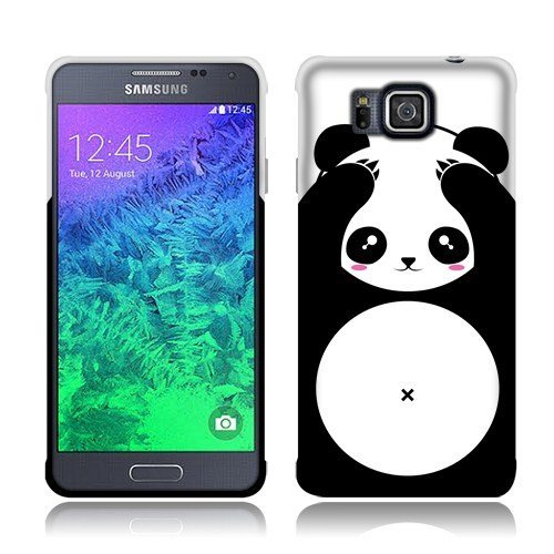 Nextkin Samsung Galaxy Alpha G850 Silicone Skin TPU Gel Cover Case - Panda Bear Black White (Samsung Alpha Case Custom compare prices)