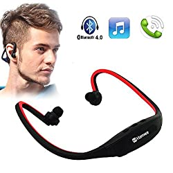 Hamee Outdoor Sporty Wireless Bluetooth On-Ear Sports Headset Super Light Trendy Headphones (with Micro SD Card Slot and FM Radio) Compatible with Sony,Samsung,Lenovo,Xiaomi,Motorola and other Smartphones