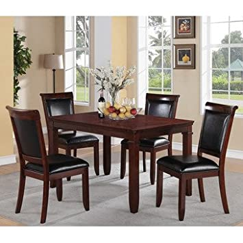 Standard Furniture Dallas 5 Piece Dining Room Set in Medium Brown Cherry