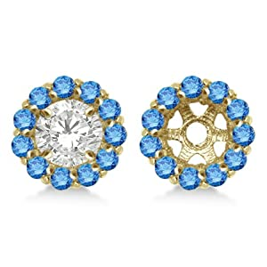 Round Fancy Blue Diamond Earring Jackets for 8mm Diamond Studs 14K Yellow Gold 1.00cw