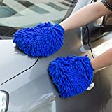 NO.1 Premium Wash Mitt, ShowTop 2 Packs Superfine Fiber Chenille Wash Glove with FREE Towel Poloshing Cloth