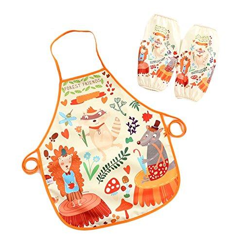 Miya super dolce bambini grembiule, impermeabile, con un paio di maniche quaderno, back grembiule, platino grembiule da barbecue grembiule da cucina pittura grembiule, immagine Forst conferenza KS007